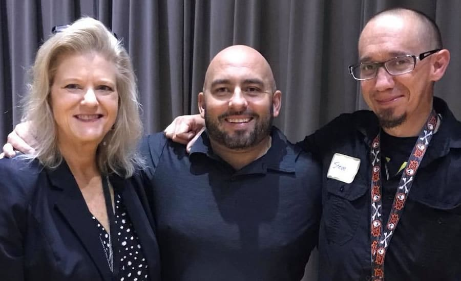 From left: Anne Young, Women's/Recovery Renewal program director at Cornerstone of Recovery; Stephen Kavalkovich; and Steve Wildsmith, content development specialist with Cornerstone of Recovery.