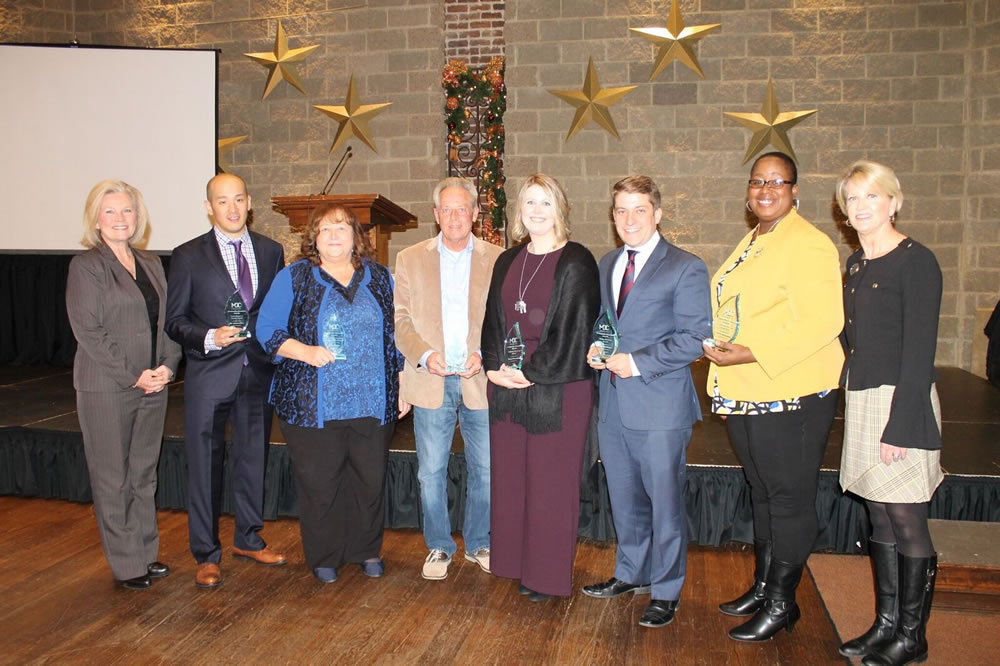 From left: Knox County District Attorney General Charme Allen, president of the board of directors of Metro Drug Coalition; Commitment to Service Award winner Dr. James Choo; Innovations in Substance Abuse Prevention Award winner Sherry Crouse; Recovery Services Award winner John Lewis; Celebrate Recovery Award winner Becca Humphrey; Media Advocacy Award winner Marc Sallinger; Coalition Member of the Year Award winner Carren Broadnax; and Metro Drug Coalition Executive Director Karen Pershing.