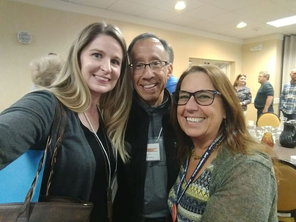 Erin Borden (from left), Wayne Terrazas and Pam Spindel at the 2019 Smoky Mountain Conference of ETAADAC.