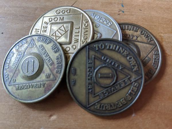 Alcoholics Anonymous 30 Day Recovery Coin Chip Medallion Medal Token AA Days